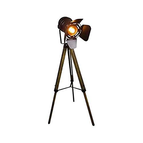 YXX Lámpara de pie, lámpara de pie con trípode Vintage, Foco Retro de Teatre Náutico, Lámparas de Madera de decoración Industrial, Accesorios de película de Cine, (sin Bombillas de Edison)