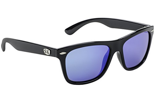 Strike King Plus Cash Polarized Sunglasses, Shiny Black Frame/Blue Mirror Gray Base Lens