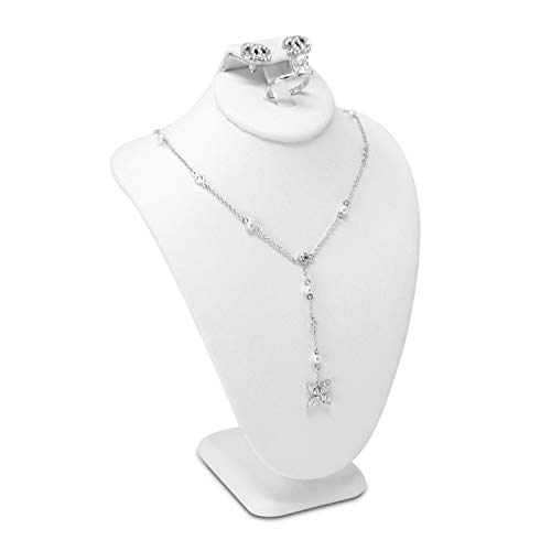 MOOCA White Leatherette Combination Necklace, Ring, and Earring Bust Display, Necklace Chain Jewelry Bust Display Holder Stand, Necklaces Display necklace mannequin, Necklace Bust, Jewelry Bust Stand