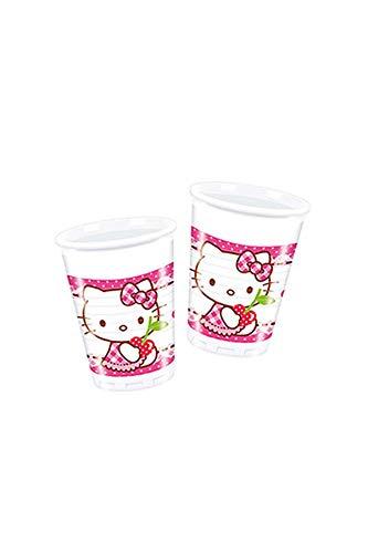 8 Becher * HELLO KITTY * für Kindergeburtstag // Partybecher Kinder Geburtstag Party Fete Set Hearts Rosa Pink Mädchen