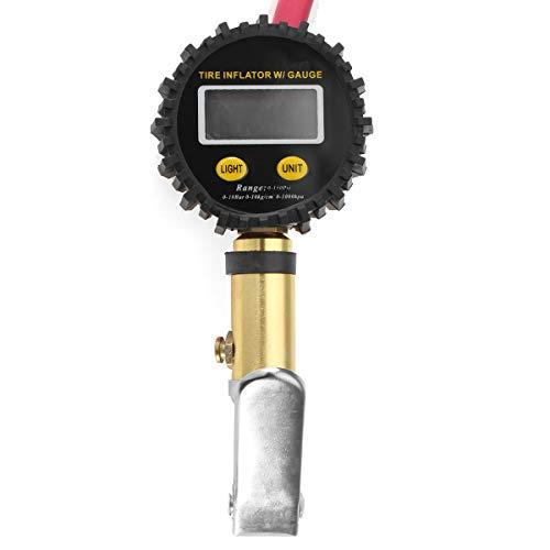 ZWwei Piezas de automóviles Inflador de neumáticos de Aire con Alta precisión LCD Medidor de presión Digital Dual Clink Chuck Herramientas y Equipos de automóviles