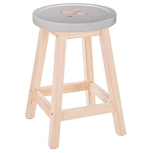 """Atmosphera – Taburete robusto con patas de madera natural, asiento en forma de """"botón"""" color GRIS"""