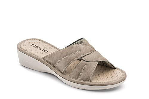 Ciabatta Pantofola Donna Estiva Comoda da CASA in Sintetico Incrociata Aperta Tacco 3 CM Modello 1621 (Beige, 38)