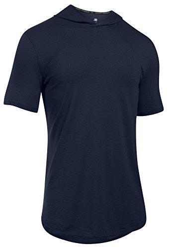 Under Armor Herren Baseline T-Shirt mit Kapuze, Herren, Midnight Navy (410)/Steel, Large