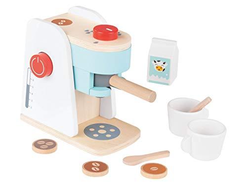 PLAYTIVE Kinderspielzeug Kaffeemaschine-Set, Kaffeemaschine aus Holz mit 3 Kaffeepads und Milchtüte, 2 Tassen und 2 Löffeln