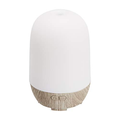 Amazon Basics – Ultraschall-Aromatherapie-Zerstäuber für ätherisches Öl, 100 ml, Basis in grauer Holzmaserung-Optik, mit Nachtlicht mit 7 Farben