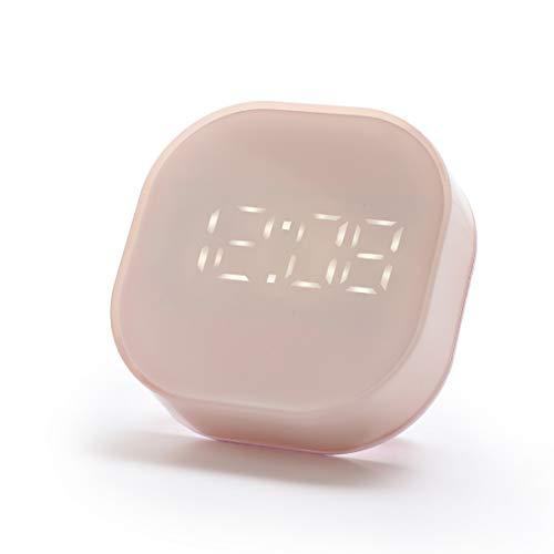 Despertador de Viaje Digital Pantalla Grande Hora y Mes y Fecha y Alarma Tamaño de Mano Configuración fácil niños,Pink