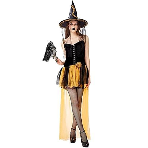 GDYJP Traje de Bruja de Las Mujeres Adultas de Halloween con el Sombrero de la Bruja y los Calcetines Vestido de Lujo 3pcs Conjunto de atuendos, Vestir, Jugar rol, Fiesta de cumpleaños