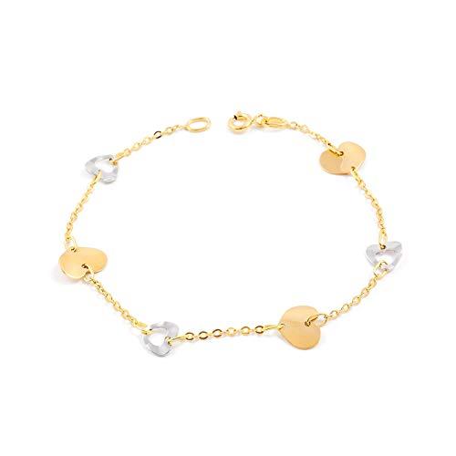Hart-armband tweekleurig goud 18 karats (750)