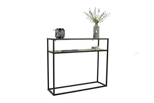 LIFA LIVING Konsolentisch mit 2 Böden, Stabiler Beistelltisch aus Holz & Metall, Regal für Wohnzimmer, Flur, Schlafzimmer, 100 x 30 x 85 cm