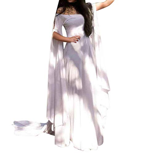 Womens Medieval Dress Lace up Vintage Floor Length Cosplay Long Wedding Dress(White,X-Large)