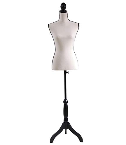 Female Mannequin Torso Dress Form Adjustable Height Black Tripod Stand Base Style Dress Jewelry Display, Beige
