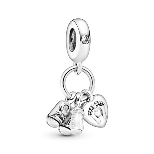 Pandora Jewelry Baby Bottle and Shoes Dangle Cubic Zirconia Charm in Sterling Silver