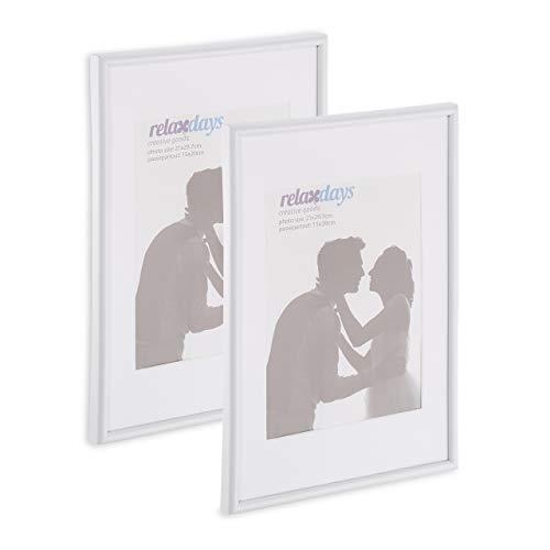 Relaxdays Bilderrahmen 2er Set, Din A4, Passepartout 15x20 cm, Glasscheibe, Fotorahmen zum Stellen oder Hinhängen, weiß