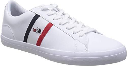 Lacoste Herren Lerond TRI1 CMA Sneaker, Weiß (Wht/NVY/Red), 42 EU