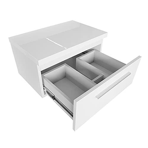 Waschtischunterschrank mit Platte 80 cm Hängend Badmöbel Set für Aufsatzwaschbecken Schubladeschrank Hängeschrank (Weiß)
