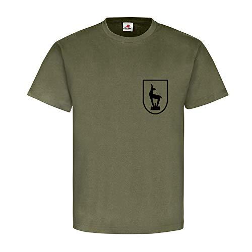 Horrido de Gams Gebirgsjäger Steinbock Edelweiß Wappen Abzeichen T Shirt #15288, Größe:L, Farbe:Oliv