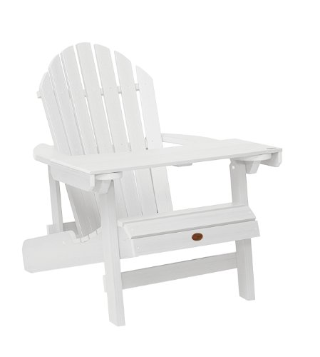 Highwood ADIRONDACK - Bandeja/mesita de lectura de madera sintética eco-friendly, color blanco [Silla no incluida] ⭐