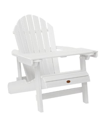 Highwood ADIRONDACK - Bandeja/mesita de lectura de madera sintética eco-friendly, color blanco [Silla no incluida]