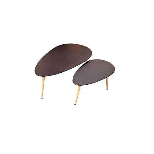 ZONS Fly – Juego de 2 mesas bajas de estilo escandinavo, madera, color negro