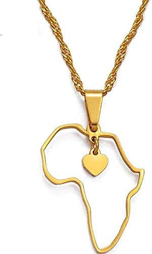 MGBDXG Co.,Ltd Collar de Color Dorado con Tarjeta de África, Collares con Colgante, Mujer, niña, corazón, Tarjetas africanas, joyería, dijes, Regalos, Regalos