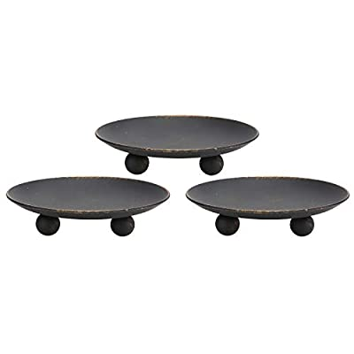 Scwhousi Rustic Black Iron Plate Candle Holder,Decorative Iron Pillar Candle Holder, Set of 3,Pedestal Candle Stand for LED & Wax Candles,Spa, Weddings