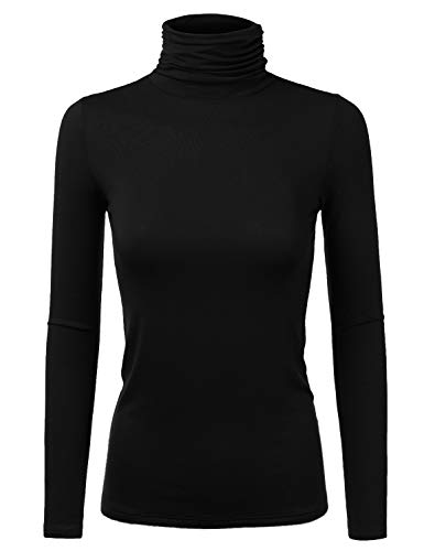 Doublju Soft Knit Turtleneck TShirt Top with Shirring Detail for Women with Plus Size Black 1X