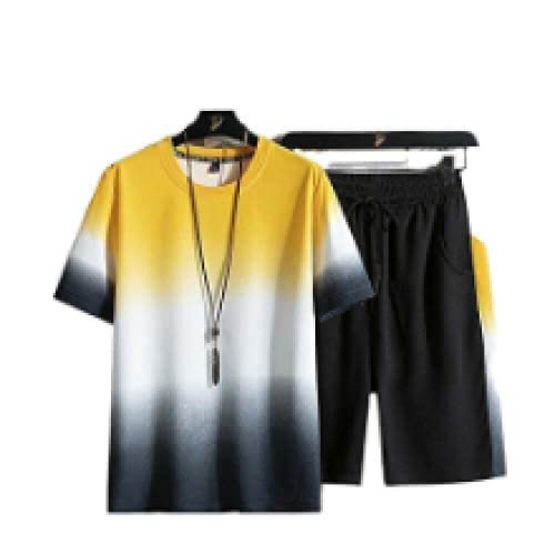 YLYN Short-Sleeved Suits, Couples, Summer Shorts, T-Shirts, Breathable Sports Cool, Used for Sports, Leisure,Gray-XL