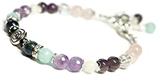 Swirl Fertility and Pregnancy Bracelet Featuring Natural Gemstones Rose Quartz, Amethyst, Chrysocolla, Black Onyx, Moonstone, Amazonite