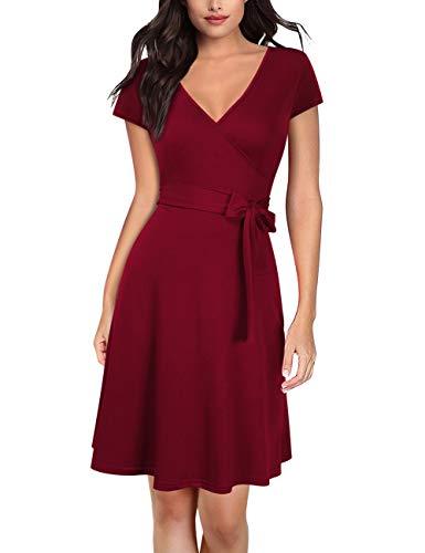 KOJOOIN Damen Kleid Business Kleid Knielang Wickelkleid, 3/4 Arm mit V-Ausschnitt und Gürtel(Verpackung MEHRWEG)