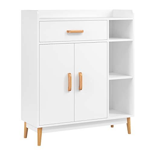 Homfa Aparador Salón Librería EstanteríaMueble Auxiliar Almacenaje con 1 Cajón 2 Puertas y 3 Compartimentos para Salón Cocina Pasillo Entrada Blanca 80x29.5x93cm