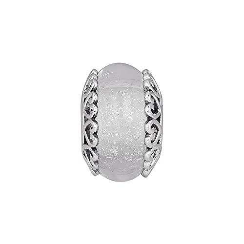 LIIHVYI Pandora Charms para Mujeres Cuentas Plata De Ley 925 Regalo De Joyería De Cristal De Murano Blanco Iridiscente Compatible con Pulseras Europeos Collars