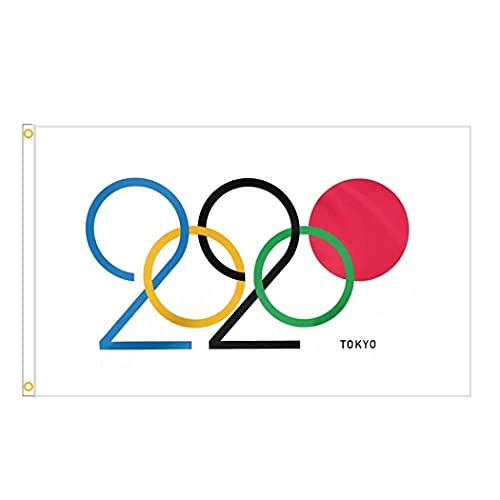 2021 Olympische Flagge -- 150 x 90 cm -- für Veranstaltungen, Kneipen, Grillen, Dekorationen für Rugby, Cricket, Fußball, Olympische Spiele (D)