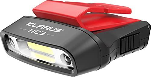 klarus HC3 - Gorra LED con clip (luz blanca y roja, con control de sensor, 5 modos de intensidad regulable, para caza, camping, pesca)