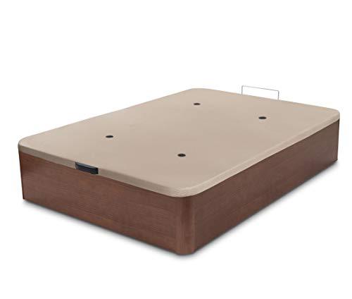 Dormidán - Canapé abatible de Gran Capacidad con Esquinas Redondeadas en Madera, Base tapizada 3D Transpirable + 4 válvulas aireación 135x190cm Color Cerezo-Nogal