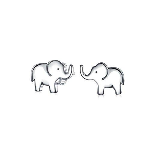 Zoo Animal Lover Buona fortuna Wise Elephant Stud Orecchini per le donne per adolescente 925 Sterling Silver