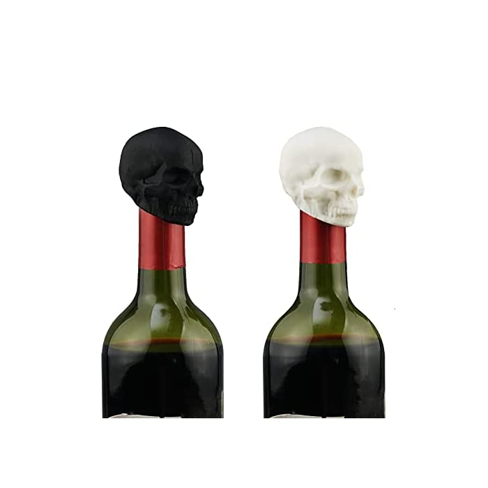 Klooyo 2 Pcs Skull Wine Stopper Silicone Reusable Decorative Beverage Bottle Stopper Vacuum Saver Stopper With Rubber Seal For Wine Caps For Champagne Beer Beverage To Keep Freshblackwhite
