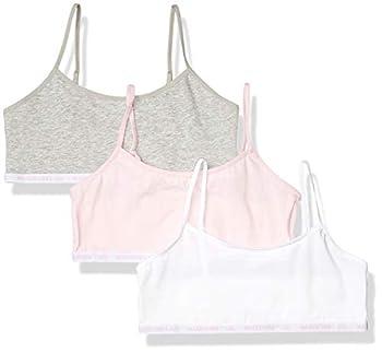 Maidenform Girls  Logo Band Cotton Crop Training Bra 3 Pack Parfait Pink/White/Heather Gray Extra Large