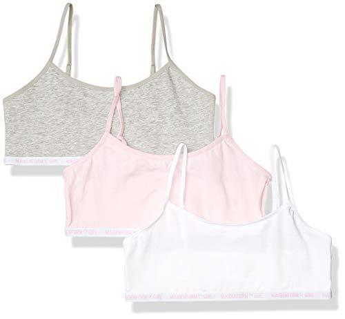 Maidenform Girls' Logo Band Cotton Crop Training Bra, 3 Pack, Parfait Pink/White/Heather Gray, Extra Large
