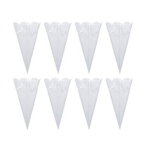 WANDIC Wedding Confetti Cones, 50 Pcs Hollow Rose White Paper Flower Cones Bouquet Guest Confetti Holders for Wedding Party Favour Gifts Packing