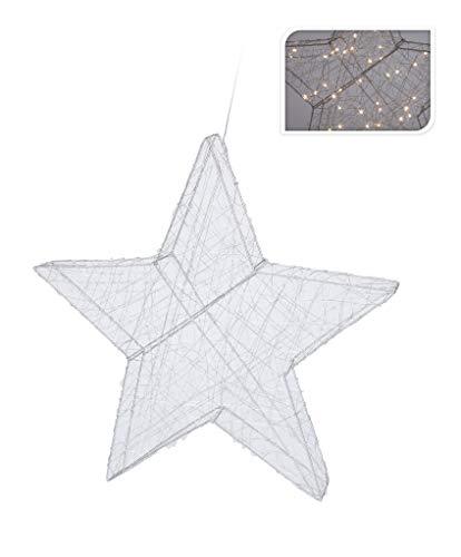 Kerstster Ø 40 cm 50 LEDs ster zilver LED warmwit metaal kerstdecoratie