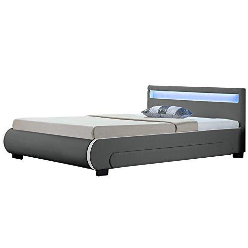 Juskys Polsterbett Bilbao 180x200 cm – Bett mit Bettkasten, LED-Beleuchtung & Lattenrost – Bettgestell Holz und Kunstleder – Doppelbett grau