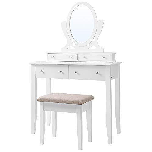 SONGMICS Vanity Table Set with Mirror and 4 Drawers, Wooden Makeup Dressing...