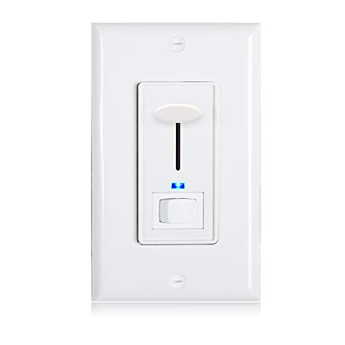 Maxxima 3-Way/Single Pole Dimmer Electrical Light Switch with Blue Indicator Light 600 Watt max, LED Compatible, Wall Plate Included
