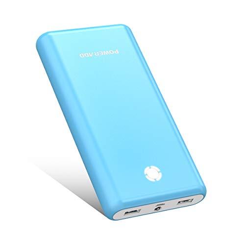 POWERADD [Versión Mejorada] Pilot X7 20000mAh Power Bank Cargador Móvil Portátil Batería Externa con 2 Salidas USB 3.1A para iPhone iPad Samsung Dispositivos Android Tablets y Más, Color-Azul