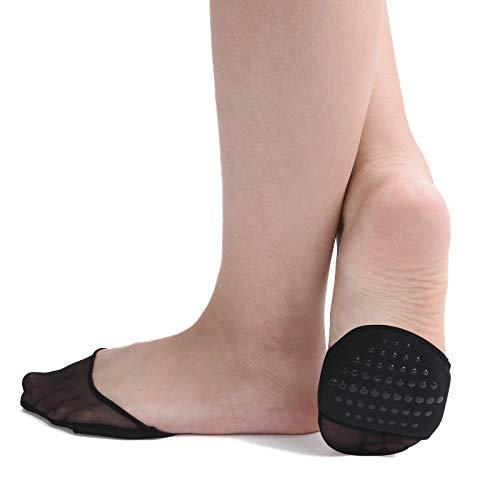 Zeltauto Damen 6 Paar Fußpolster Fuß-pads Socken für Entspannung der Füße (6 Schwarz, Tüll)