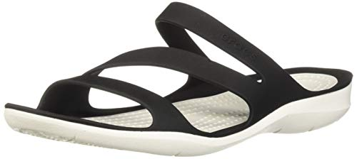 Crocs Women's Swiftwater Sandal Sport, Black/White, 7 M US