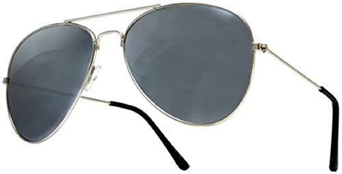 WGL Gafas de sol, estilo de diseñador de los años 70, protección para gafas de sol unisex con espejo plateado, talla única para lentes de espejo, Avi Silver Black
