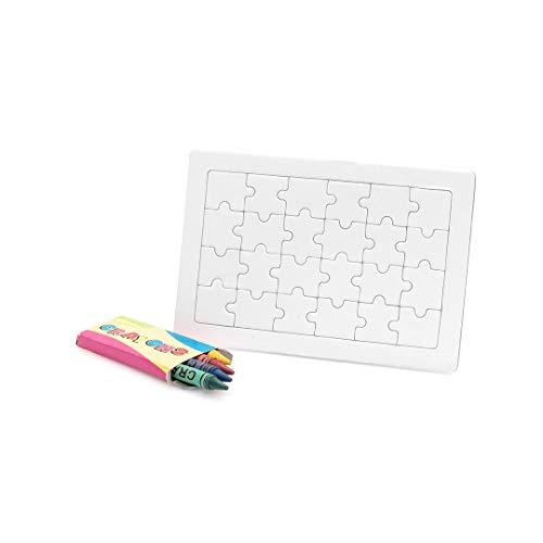 MIRVEN Lote 20 Puzzles Blanco 4 Ceras Colores Cada