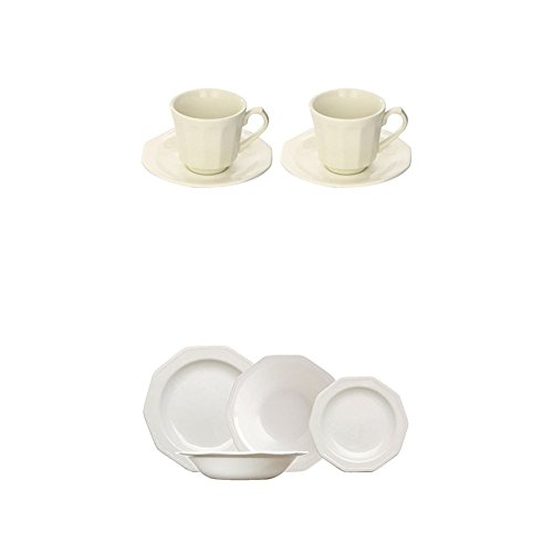 Churchill Artic White - Set de 2 tazas, 16 cl, con plato, color blanco + Churchill Artic White - Vajilla de 19 piezas, color blanco